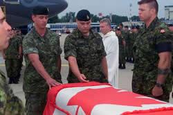 Canadian war dead coffin