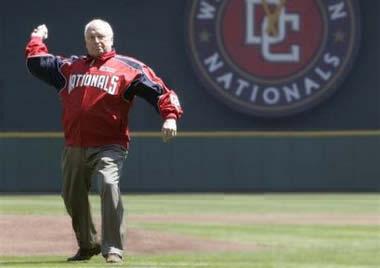 Dick Cheney pitch Washington Nationals baseball