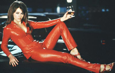 Elizabeth Hurley red leather