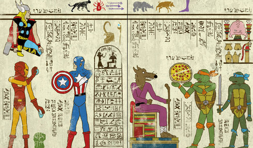 classic-movies-in-turkish-miniatures-posters-and-super-heroes-as-hieroglyphics-by-murat-palta-and-josh-lane-3-capitan-america-ninja-turtles-1.jpg