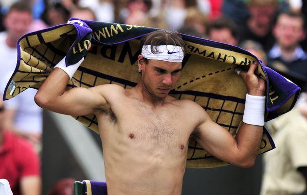 Rafael Nadal shirtless sweaty