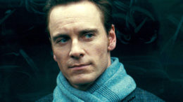 Michael Fassbender in a blue scarf