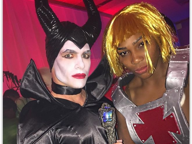 Colton Haynes as Maleficent and Serena Williams as He Man