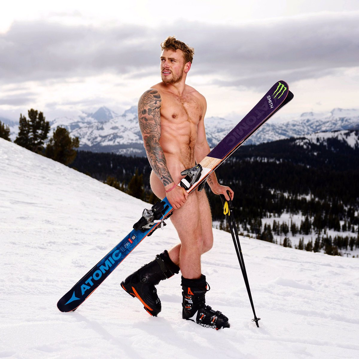 Topless photo of skier