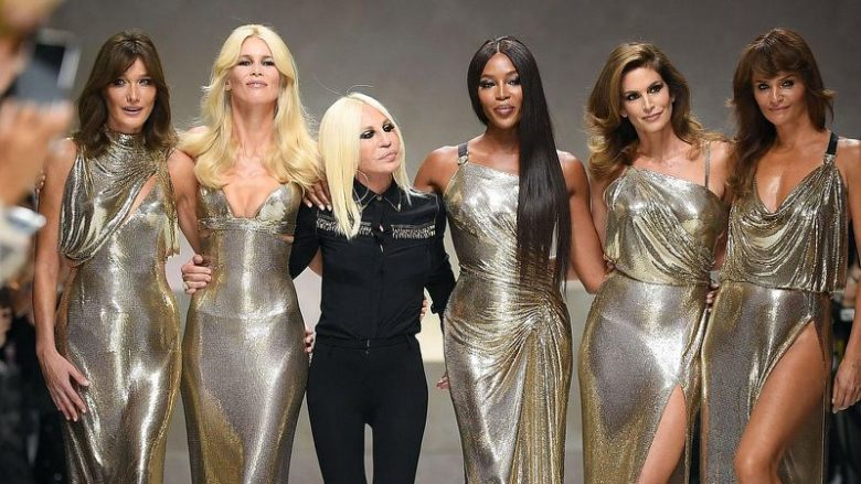Donatella Versace with supermodels on runway Spring 2018