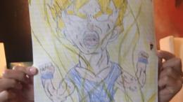 Britney's son Jaden drawing Yugi Oh