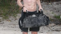 Robert Pattinson shirtless Antigua beach workout