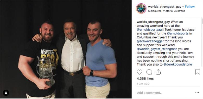 OMG, Arnold Schwarzenegger celebrates the marriage of gay Strongman Rob Kearney in Australia