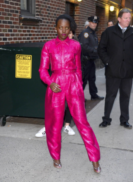 OMG, gossip: Lupita wears yellow eyes and pink sparkly jumpsuit while promoting 'US'